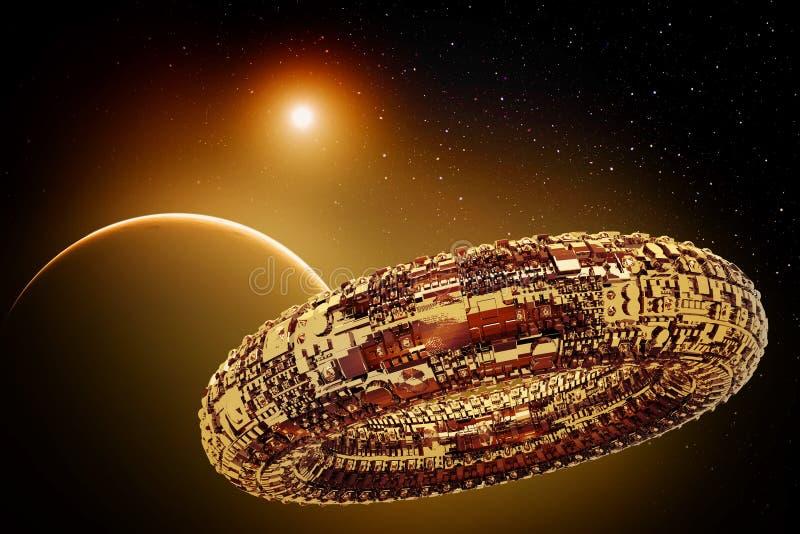 Uppdiktat universum med utrymmeskeppet stock illustrationer
