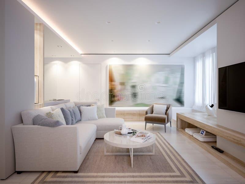 Uppehälle och matsal för elegant och lyxigt ljus öppen royaltyfri foto