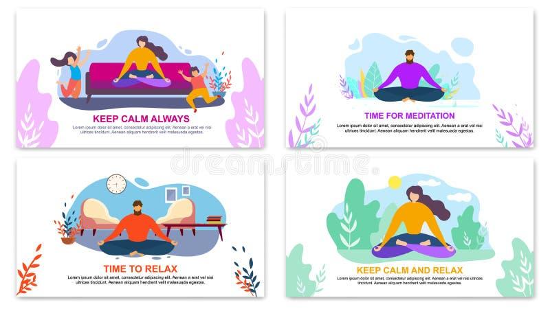 Uppeh?llet lugnar Time f?r meditation kopplar av alltid banret vektor illustrationer