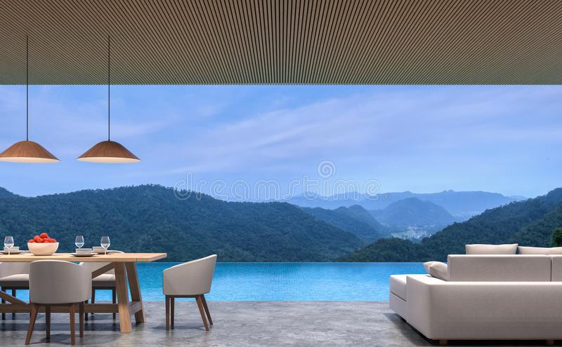 Uppehället och matsal för villa för vindstilpöl med tolkningen för bergsikten 3d avbildar royaltyfri illustrationer