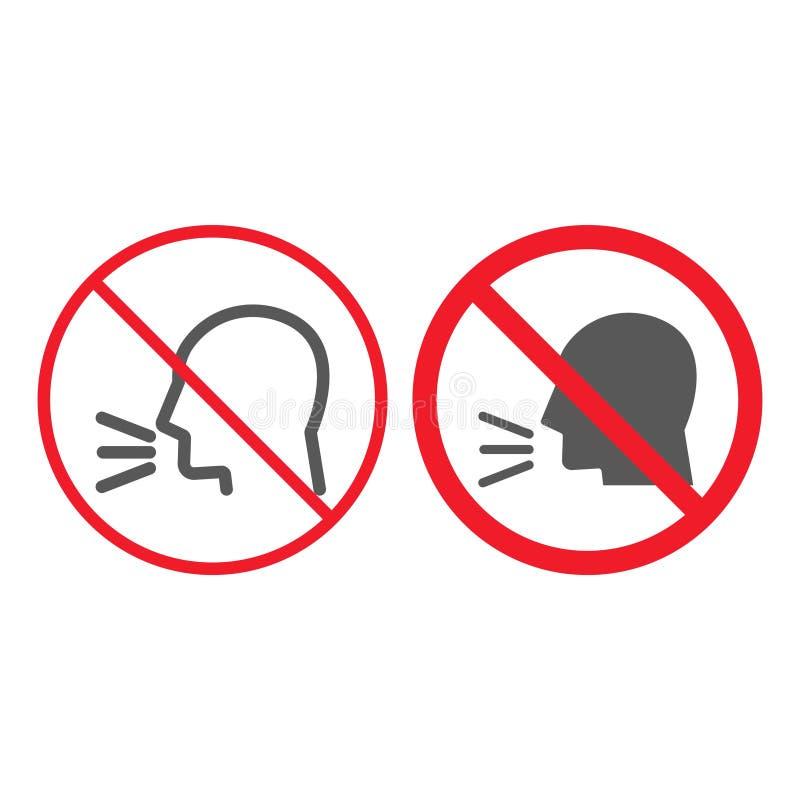Uppehälletystnadlinje och skårasymbol, förbud royaltyfri illustrationer