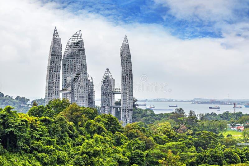 Uppehållsikt från den högsta fot- bron i Singapore royaltyfria foton