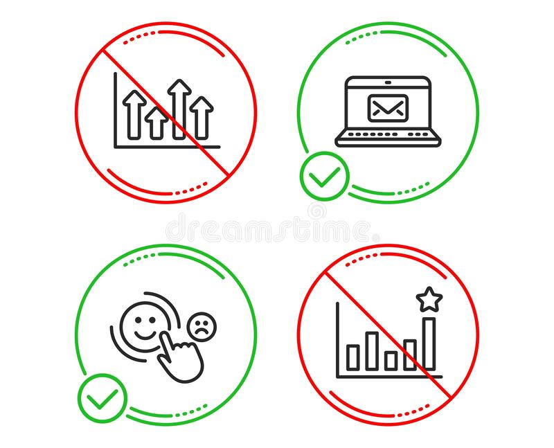Upper arrows, Customer satisfaction and E-mail icons set. Efficacy sign. Vector. Do or Stop. Upper arrows, Customer satisfaction and E-mail icons simple set royalty free illustration