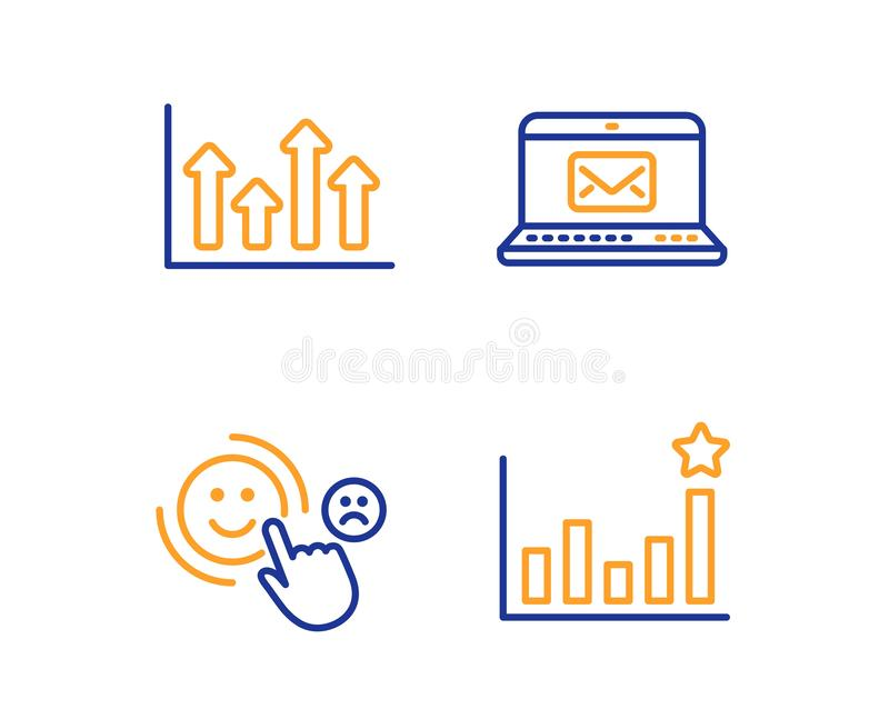 Upper arrows, Customer satisfaction and E-mail icons set. Efficacy sign. Vector. Upper arrows, Customer satisfaction and E-mail icons simple set. Efficacy sign stock illustration