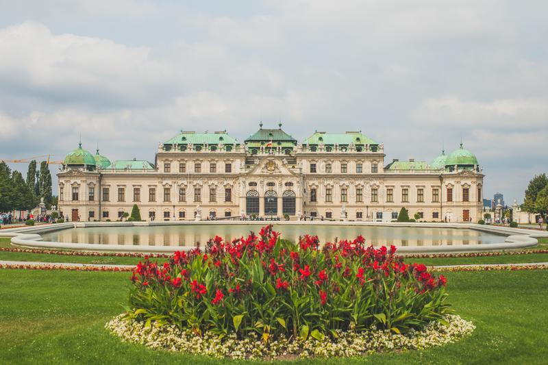 Upper Belvedere Palace with garden and lake, Vienna, Austria.  stock photography