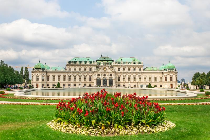 Upper Belvedere Palace with garden and lake, Vienna, Austria.  royalty free stock images
