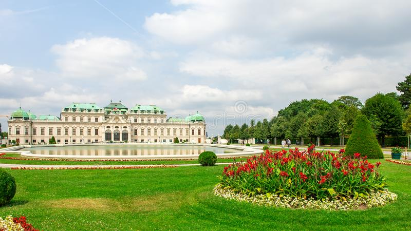 Upper Belvedere Palace with garden and lake, Vienna, Austria.  royalty free stock photo