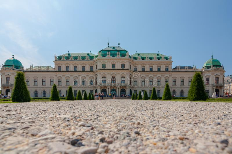 Upper Belvedere Palace with the pond is one of the most beautiful baroque palaces in Europe, Vienna, Austria. popular touristic. Beautiful view of Upper stock photo