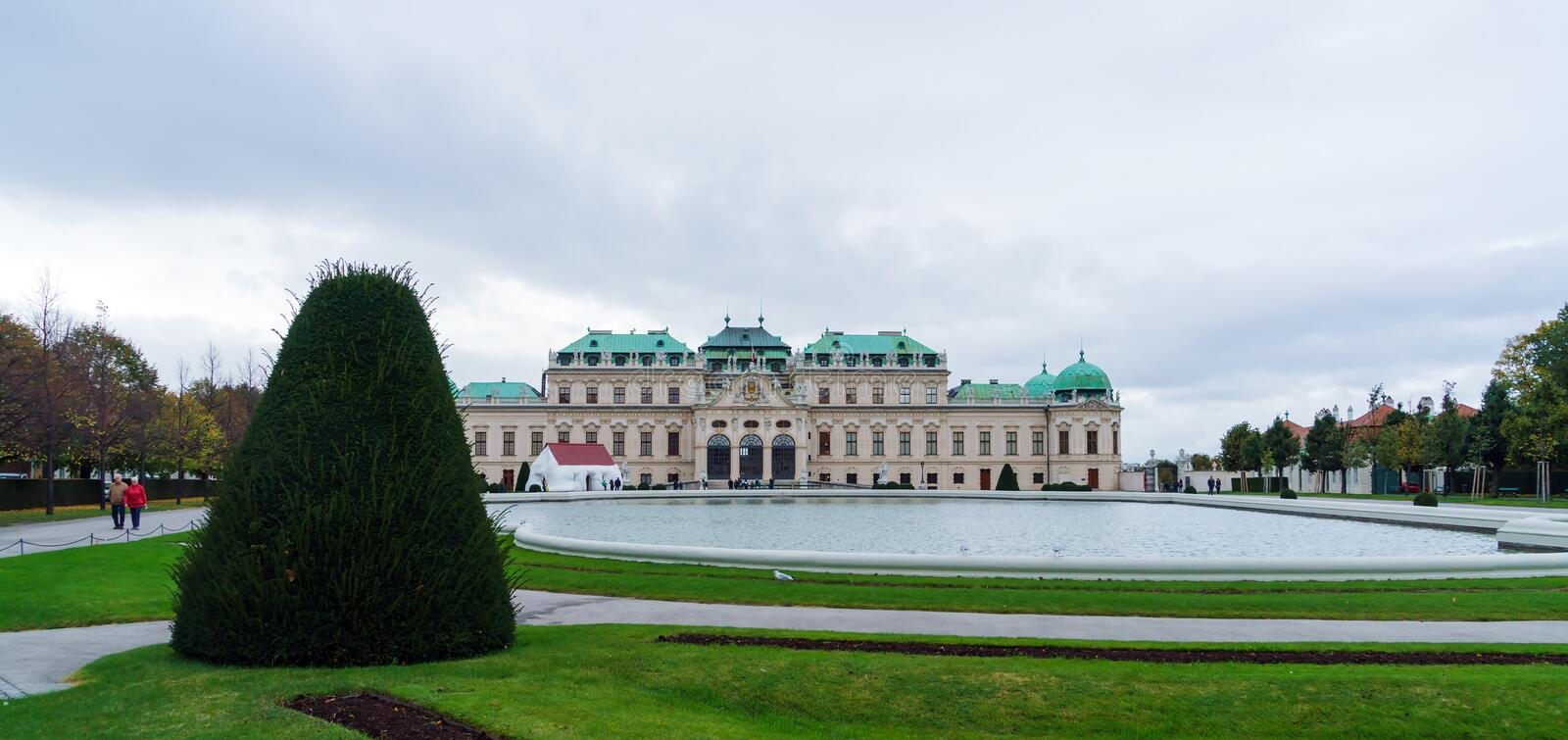 Upper Belvedere palace 1717-1723, Vienna, Austria. Vienna, Austria - October 22, 2017: Upper Belvedere baroque palace 1717-1723 stock photos