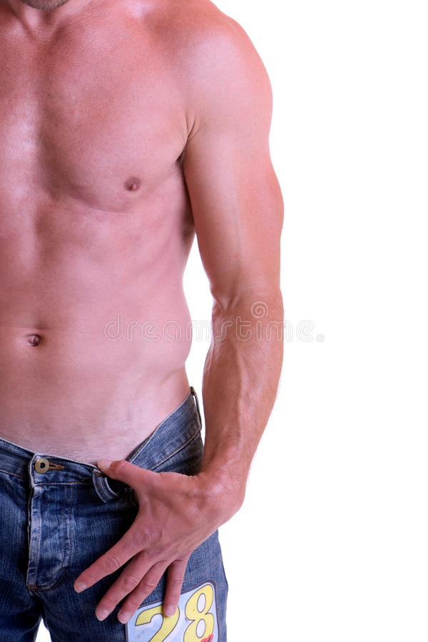 Upper Body. Man with free upper part of the body (right stock photos