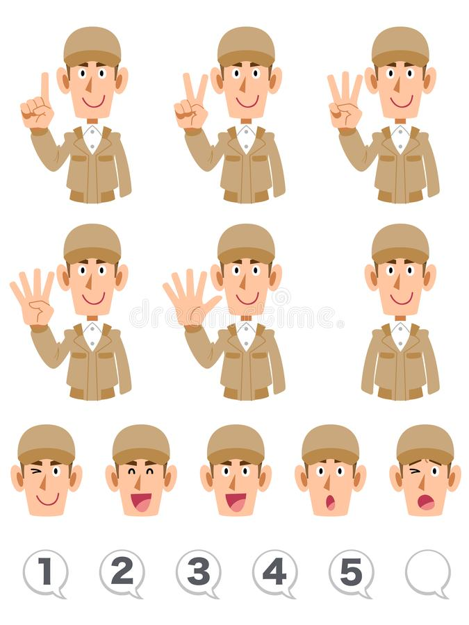 The upper body expression and number of men wearing a beige work cloth that counts numbers with fingers. The image of The upper body expression and number of men royalty free illustration