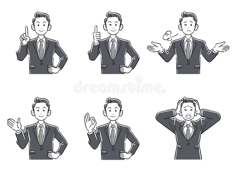 Upper body 6 piece set 1 gray scale for young businessmen with short hair royalty free illustration