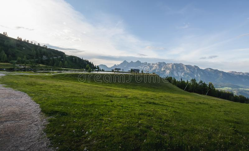 The upper cableway stop for skiers. The upper cableway stop for skiers in summer royalty free stock photo