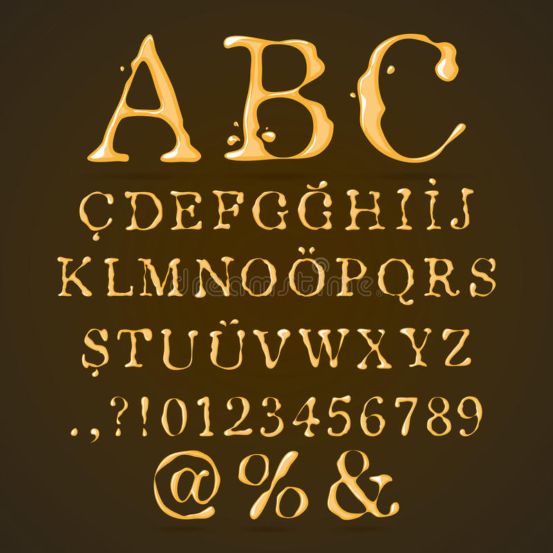 Upper-case do alfabeto da cerveja, do mel e do caramelo ilustração stock