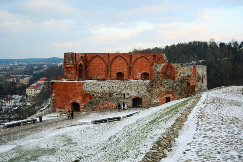 Upper castle keep on Gediminas Hill is a part of Vilnius Castle Complex. VILNIUS, LITHUANIA - FEBRUARY 2: Upper castle keep on Gediminas Hill is a part of stock image