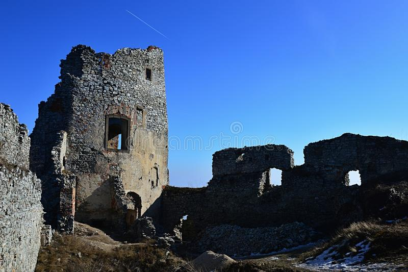Upper castle and remains of church of St. Ignatius on ruins of Gymes castle, Slovakia, central Europe royalty free stock image