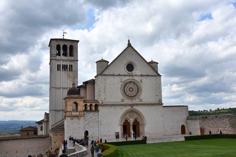 Upper church of Basilica di San Francesco of Assisi stock images