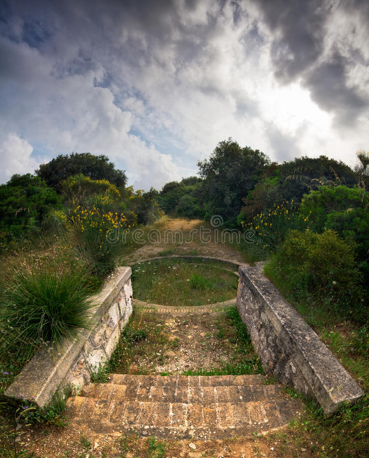 Upper Circular Battery I. An Abandoned Medieval Ruin amidst the Forest stock photos