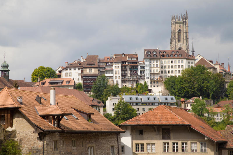 Upper City of Fribourg. Upper City from the Old Town of Fribourg, Switzerland royalty free stock photography