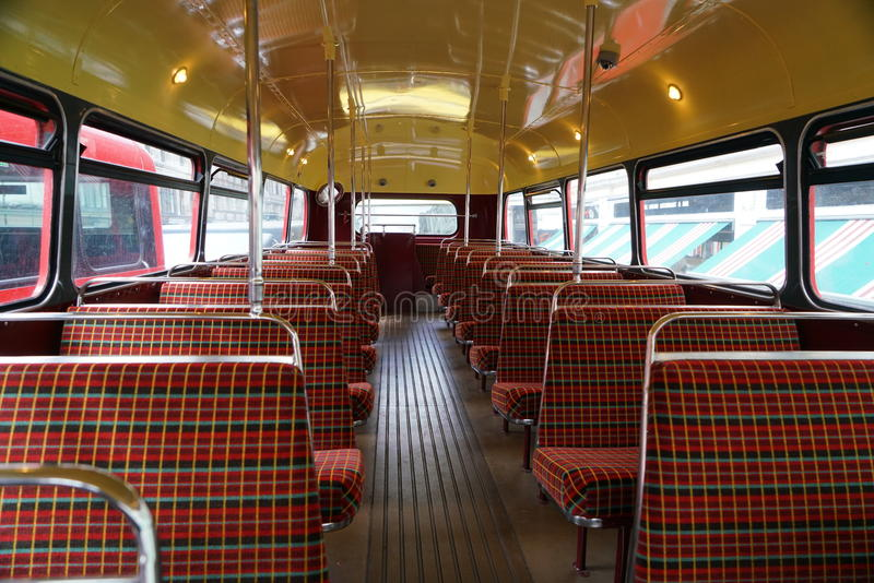 Upper deck of London double-decker, Routemaster. London,UK-May 30, 2017:Routemaster, double-decker, has been phased out of regular services. Only one route is stock photography