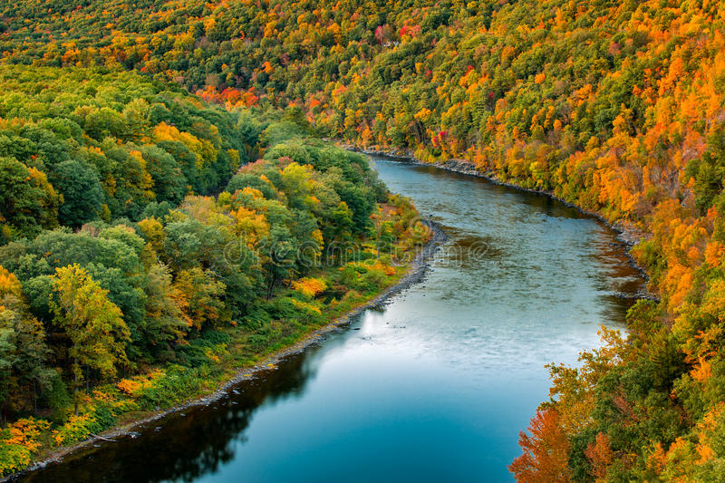 Upper Delaware river bend. S through a colorful autumn forest, near Port Jervis, New York royalty free stock photos
