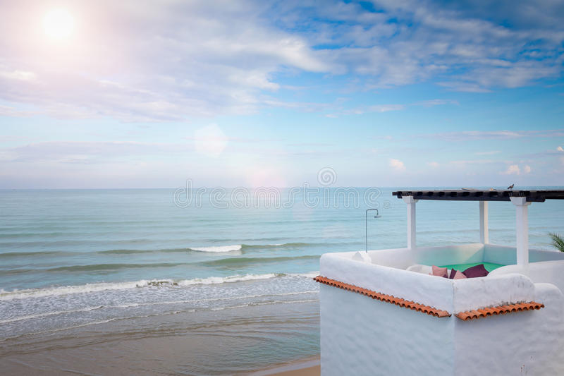 Upper Floor Terrace Over Sea View With Blue Sky. And Sun Light royalty free stock photos