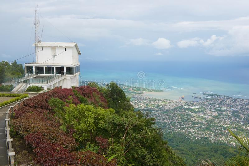 Upper funicular station  at the top of Pico Isabel de Torres with a view to the city and ocean in Puerto Plata, Dominican Republic stock photo