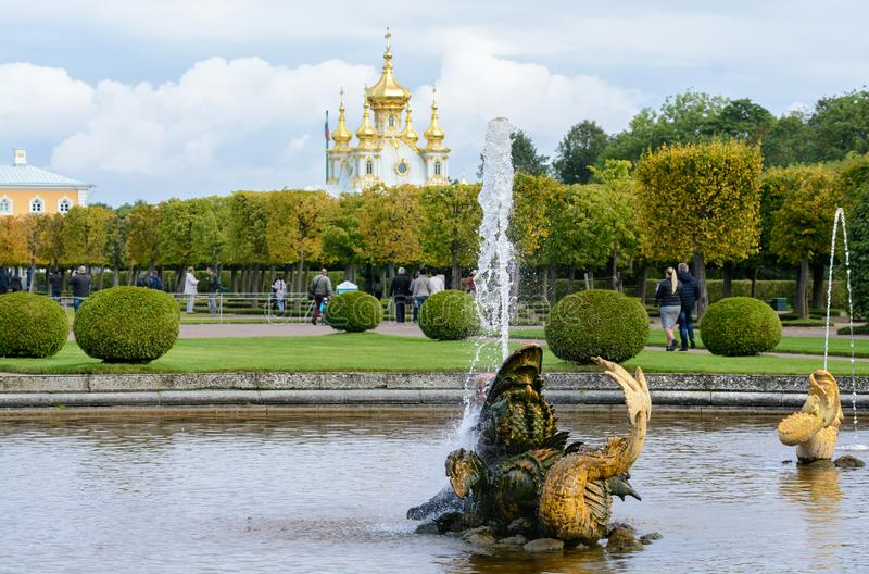 The upper park was created under Tsar Peter I. It is located in Peterhof between St. Petersburg Avenue and the Grand Peterhof stock images
