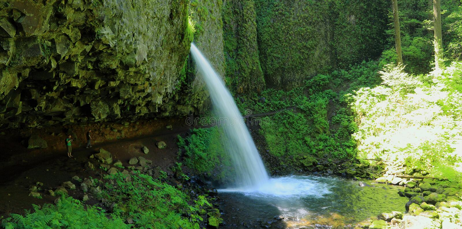 Panorama of Upper Horsetail Falls, Columbia River Gorge, Oregon, Pacific Northwest, USA. Panorama of the hiking trail passing under the overhanging cliffs of stock photos