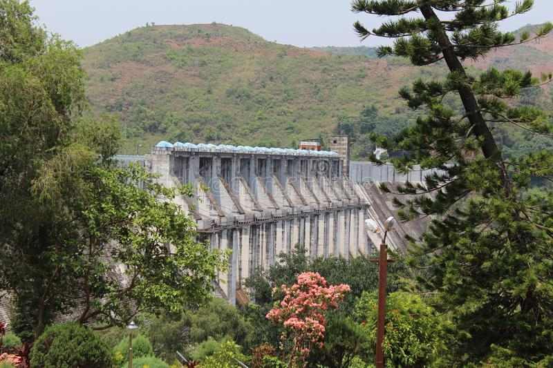 Upper Kolab Side View. Picture of Upper kolab dam with side view with two much park elements stock photo