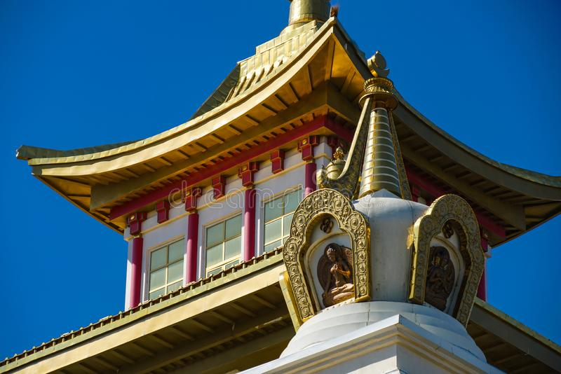 The upper level of the golden cloister of Buddha Shakyamuni in the city of Elista stock images