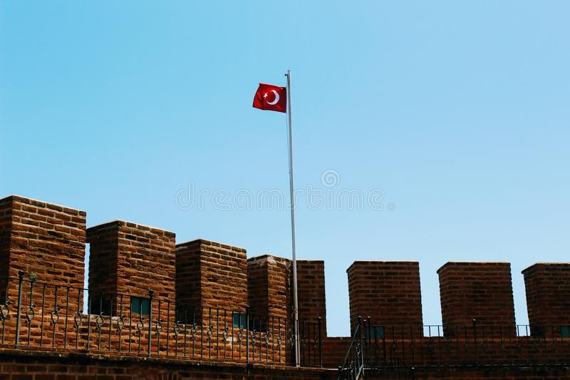 The upper level of the Red Tower - the main fortification of the city Alanya, Turkey royalty free stock photo