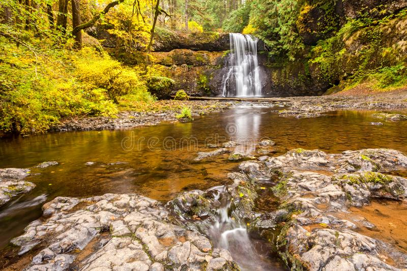 Upper North Falls in autumn in Silver Falls State Park, Oregon, royalty free stock photo