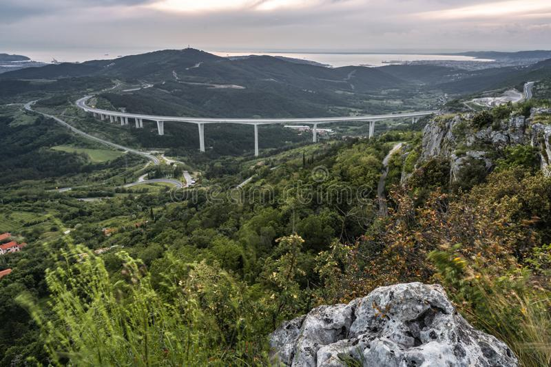 Upper panoramic view on viaduct of crni kal, beside adriatic sea, slovenia. Upper panoramic view on viaduct of crni kal, beside adriatic sea royalty free stock photo