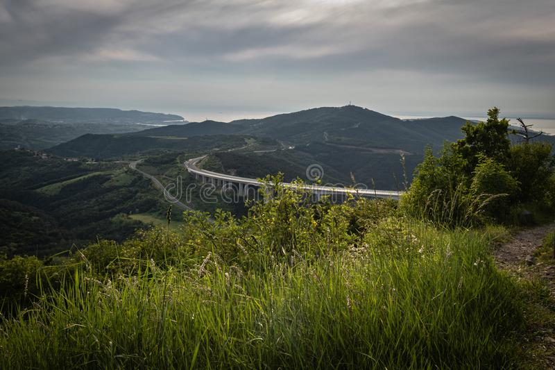 Upper panoramic view on viaduct of crni kal, beside adriatic sea, slovenia. Upper panoramic view on viaduct of crni kal, beside adriatic sea royalty free stock images