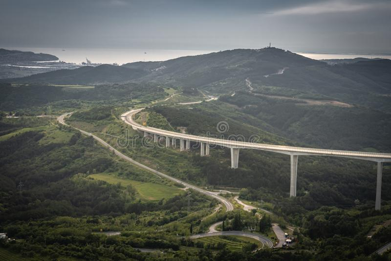 Upper panoramic view on viaduct of crni kal, beside adriatic sea, slovenia. Upper panoramic view on viaduct of crni kal, beside adriatic sea stock photography