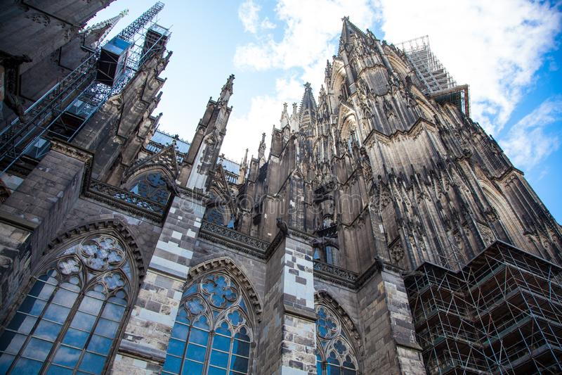 Upper part of Cologne Cathedral on blue sky. Cologne, Germany, Europe, october 2018,upper part of Cologne Cathedral on blue sky.cologne, dome of cologne stock photo