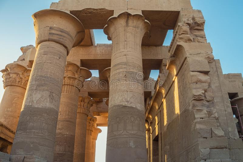 Upper part of the columns in the hypostyle hall. Of the Temple of Kom Ombo royalty free stock photos