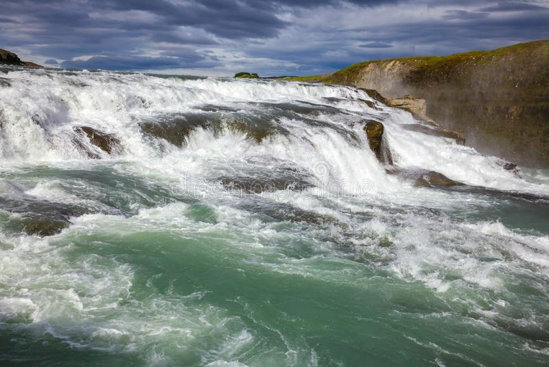 Gullfoss waterfall upper part Hvita river Southwest Iceland Scandinavia royalty free stock photo