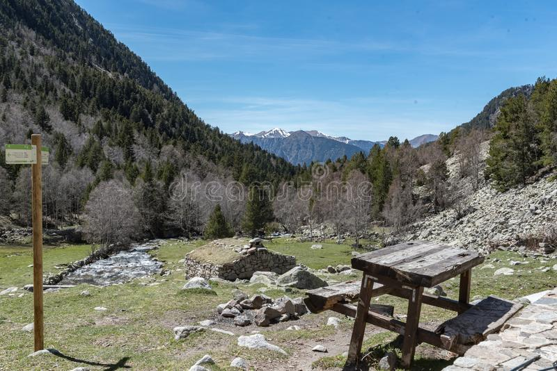 In the upper part of the Vall-de-Madriu-Perafita-Claror there are the high-altitude valleys with the mountain rivers, the alpine m. Eadows and the forests. Font royalty free stock photo