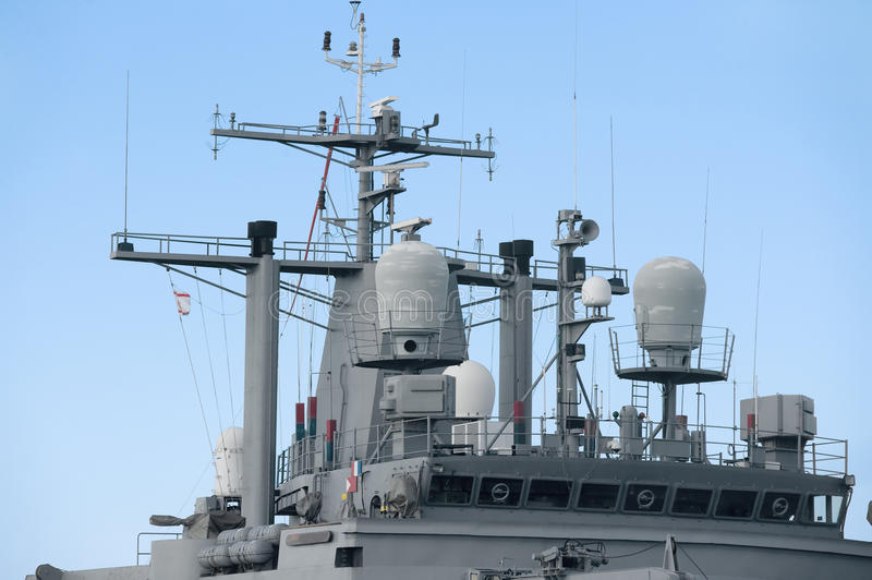 Upper part of a warship stock photo