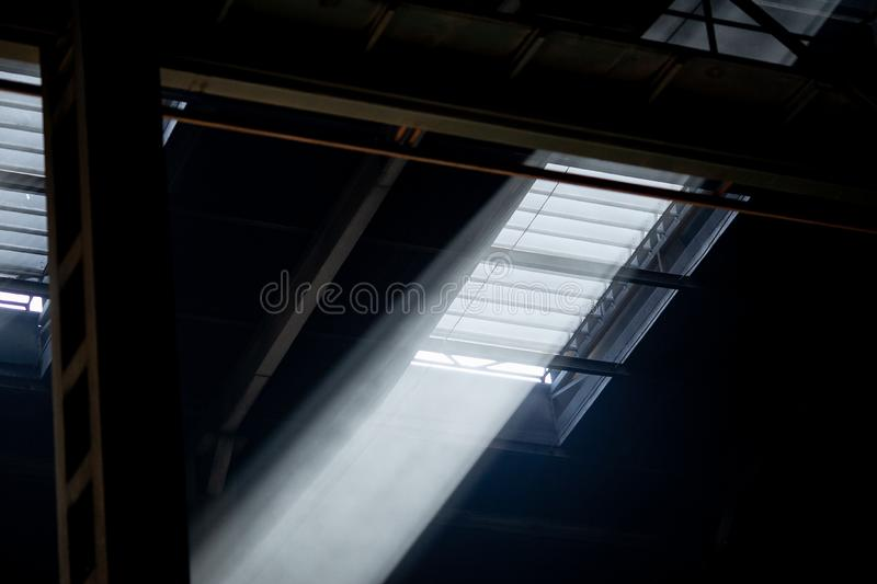 Upper part of window in beams of luminous lights stock photography