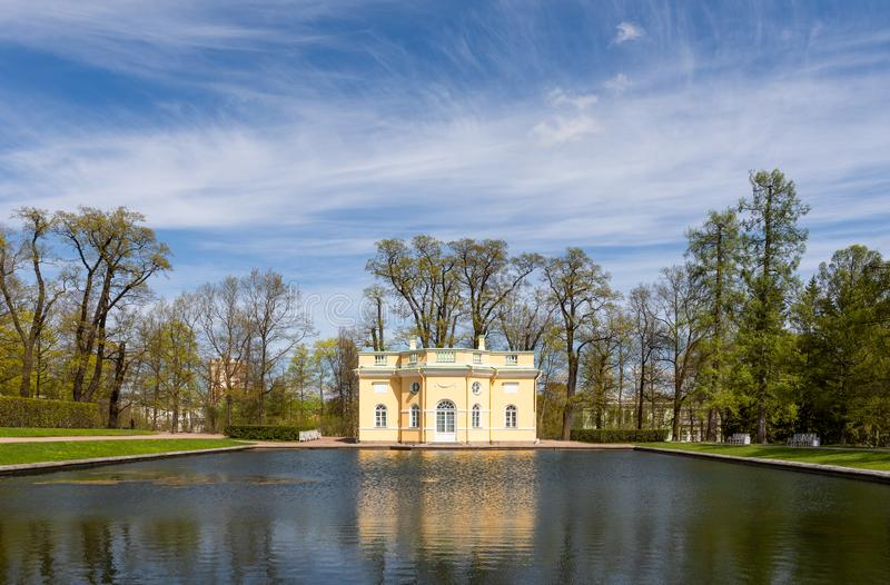 Upper Bath Pavilion and the Mirror Pond in the regular garden in front of Catherine Palace, Pushkin. Russia royalty free stock photos