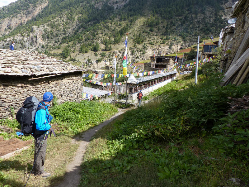 Upper Pisang, Nepal. Upper Pisang village, Annapurna Circuit trek in Nepal stock photo