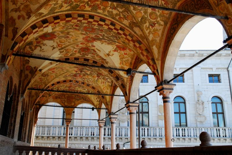 Upper porch of the elegant and historical building of Reason in Padua in the Veneto (Italy) royalty free stock photo