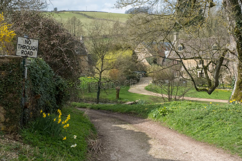 UPPER SLAUGHTER, GLOUCESTERSHIRE/UK - MARCH 24 : Scenic View of. Upper Slaughter Village in the Cotswolds in Gloucestershire on March 24, 2017 royalty free stock photography