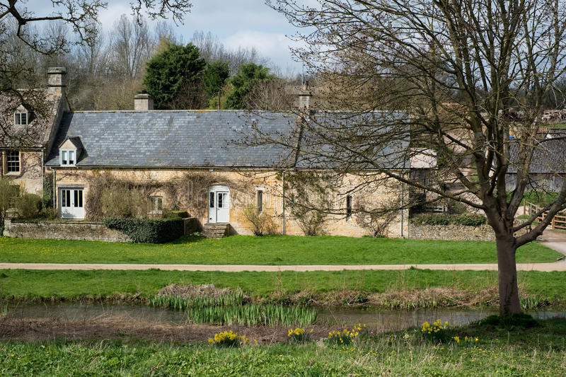 UPPER SLAUGHTER, GLOUCESTERSHIRE/UK - MARCH 24 : Scenic View of. Upper Slaughter Village in the Cotswolds in Gloucestershire on March 24, 2017 stock photography