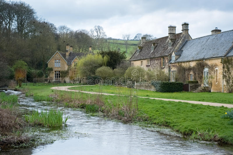 UPPER SLAUGHTER, GLOUCESTERSHIRE/UK - MARCH 24 : Scenic View of. Upper Slaughter Village in the Cotswolds in Gloucestershire on March 24, 2017 royalty free stock photo