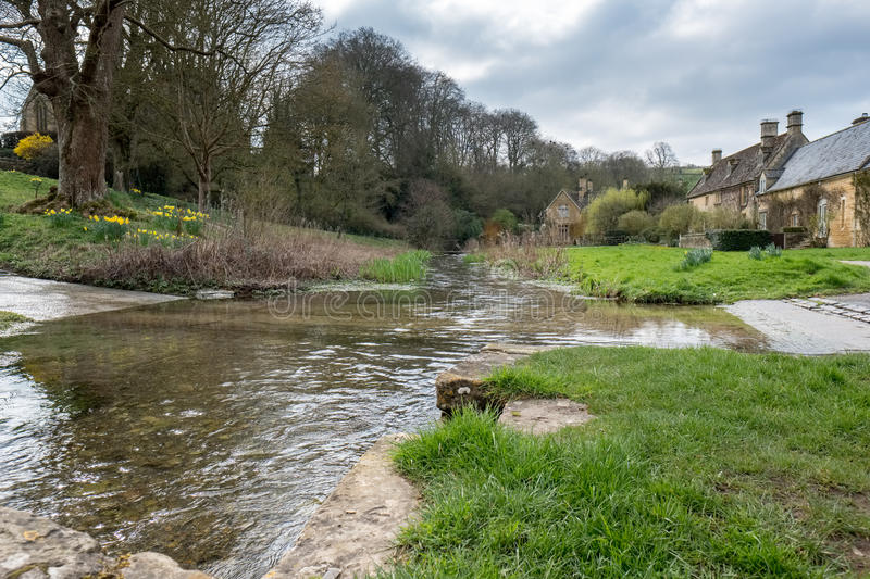 UPPER SLAUGHTER, GLOUCESTERSHIRE/UK - MARCH 24 : Scenic View of. Upper Slaughter Village in the Cotswolds in Gloucestershire on March 24, 2017 royalty free stock images