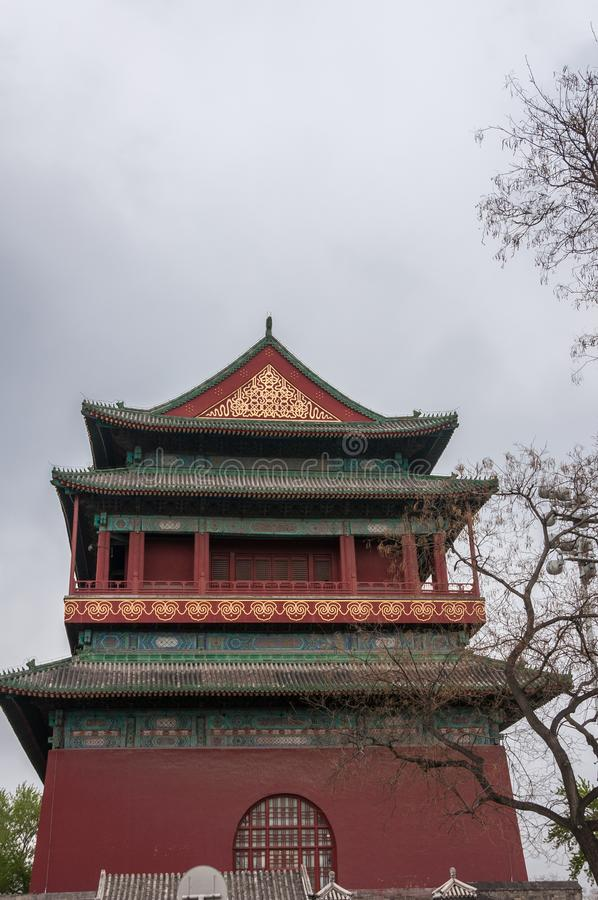 Upper structure of Drum Tower, Beijing China. Beijing, China - April 26, 2010: Short side of upper structure of Drum Tower shows maroon, green and gold colors stock photo